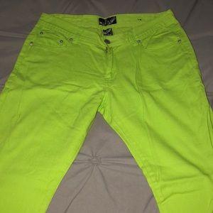 Pants - Bright green straight leg jeans